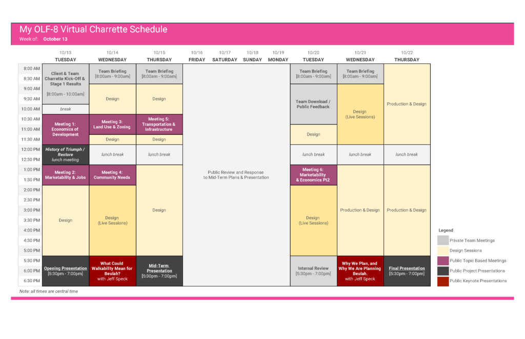 schedule of events for the charrette week